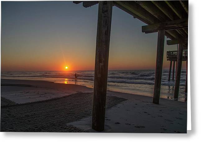 Surfing Next To The Pier - Avalon New Jersey Greeting Card by Bill Cannon