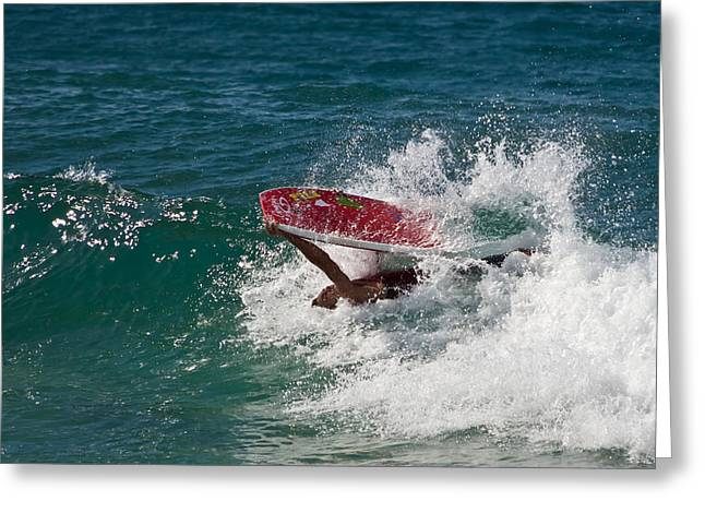Barrel Roll Greeting Cards - Surfing on his Back Greeting Card by Roger Mullenhour