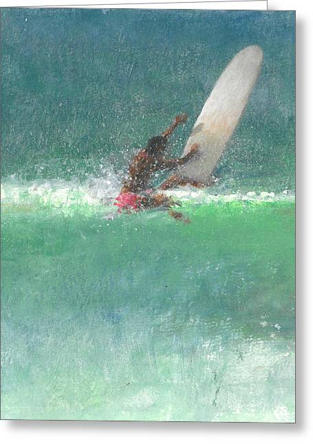 Catching Up Greeting Cards - Surfing  One Greeting Card by Lincoln Seligman
