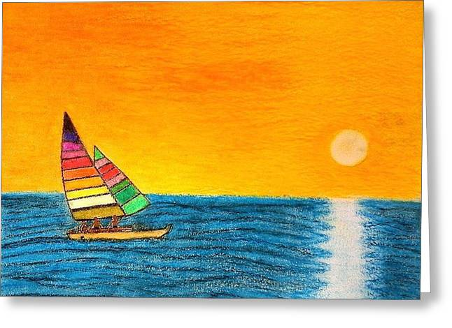 Surfing Art Pastels Greeting Cards - Surfing sea Greeting Card by Giorgio Valencia