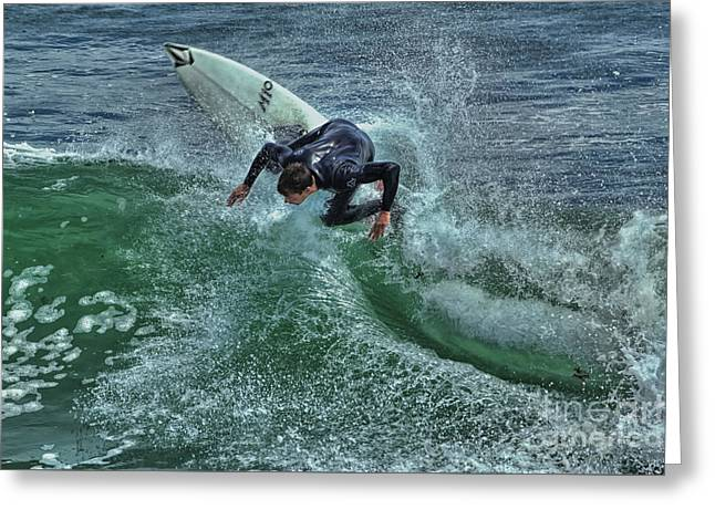 Steamer Lane Greeting Cards - Surfing Steamers Greeting Card by Paul Gillham