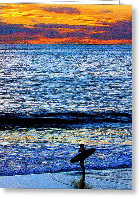 California Beach Greeting Cards - Surfing Sunset Greeting Card by Jerome Stumphauzer