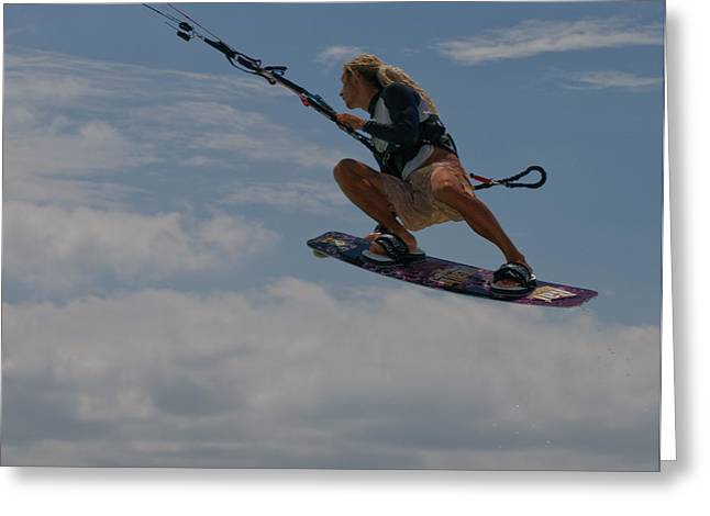 Kite Surfing Greeting Cards - Surfing the Clouds Greeting Card by Joe Teceno