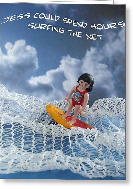 Web Pastels Greeting Cards - Surfing the net Greeting Card by Caroline Peacock