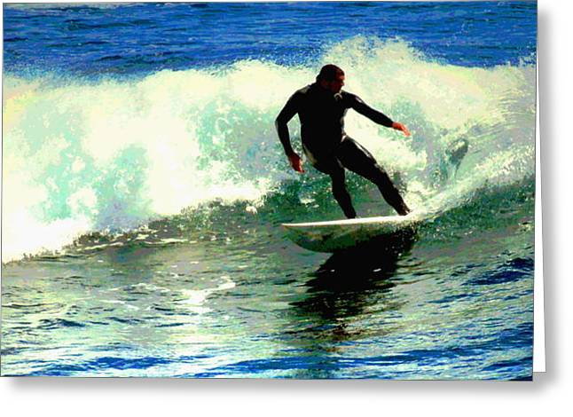 Surfing The Small Waves At Lovers Point II Wc Greeting Card by Joyce Dickens
