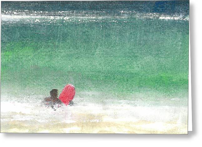 Surfer Paintings Greeting Cards - Surfing Two  Sri Lanka Greeting Card by Lincoln Seligman