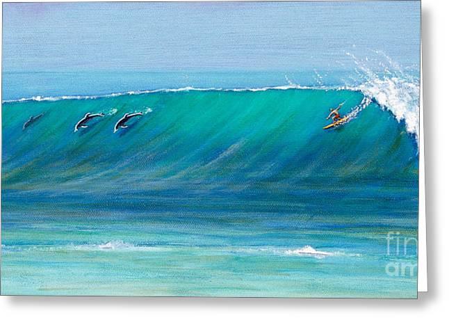 Surfing With Dolphins Greeting Card by Jerome Stumphauzer