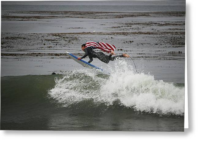 Santa Cruz Surfing Greeting Cards - SURFLINE Flying Flag Winning Shot Greeting Card by Brant Schenk