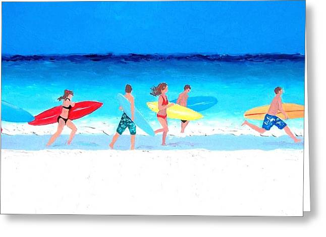 Surfing Art Greeting Cards - Surfs Up Greeting Card by Jan Matson