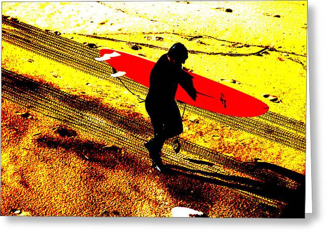 Michael Le Dray Greeting Cards - Surfs up Greeting Card by Michael Ledray
