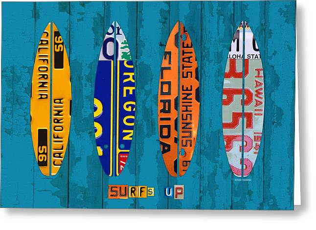 Board Mixed Media Greeting Cards - Surfs Up Surf Board Beach Ocean Decor Recycled Vintage License Plate Art Greeting Card by Design Turnpike