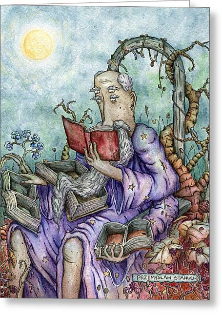 Wizard Greeting Cards - Surplus of Information Greeting Card by Przemyslaw Stanuch