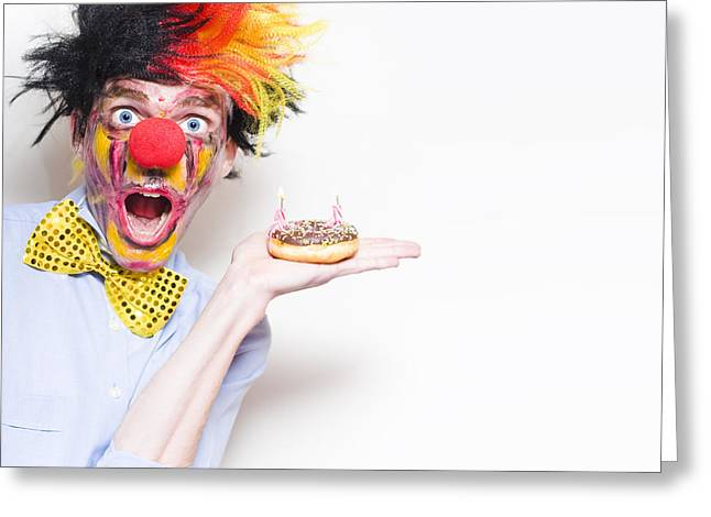 Bowtie Greeting Cards - Surprise Happy Birthday Clown Holding Party Cake Greeting Card by Ryan Jorgensen