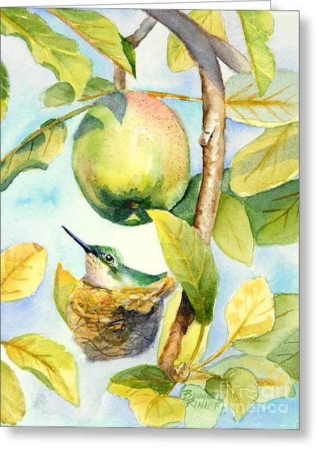 Apple Paintings Greeting Cards - Surprise in the Apple Tree Greeting Card by Bonnie Rinier