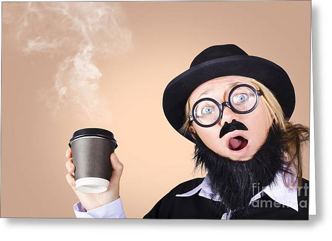 Surprised Business Person High On Coffee Greeting Card by Jorgo Photography - Wall Art Gallery