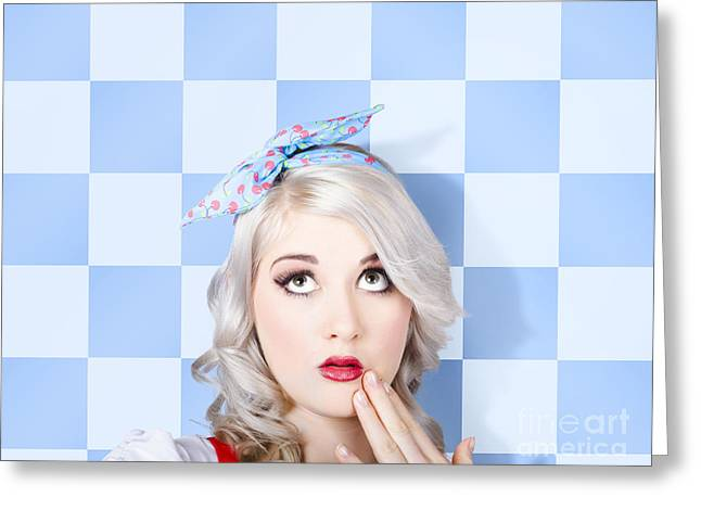 Surprised Face Of A Young Cosmetic Pinup Woman Greeting Card by Jorgo Photography - Wall Art Gallery