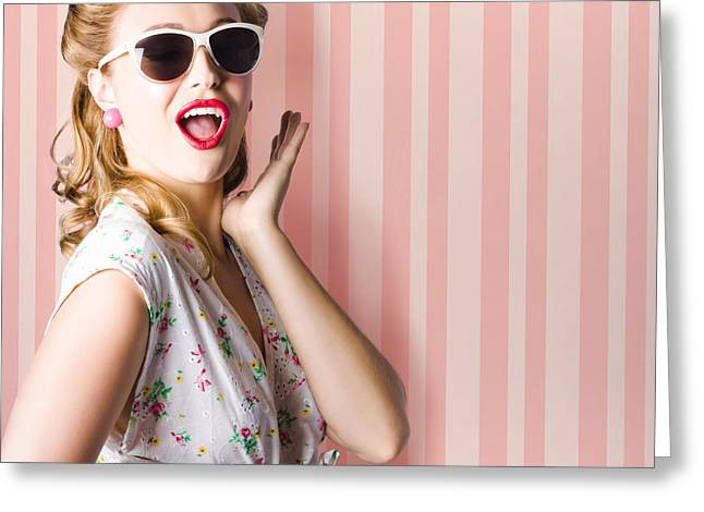 Surprised Girl In Retro Fashion Style Glamur Greeting Card by Jorgo Photography - Wall Art Gallery
