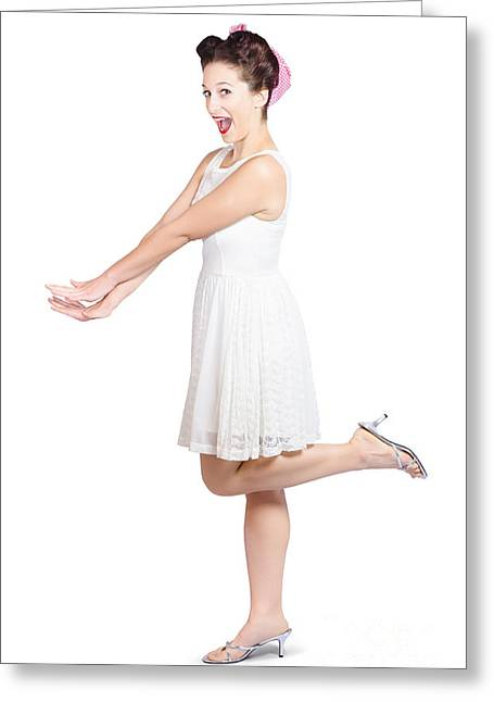 Youthful Greeting Cards - Surprised housewife kicking up leg in white dress Greeting Card by Ryan Jorgensen