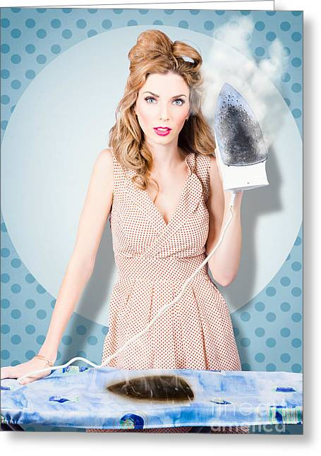 Ironing Board Greeting Cards - Surprised housewife with BURNT OUT ironing board Greeting Card by Ryan Jorgensen