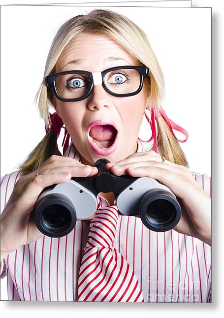 Surprised Nerd Looking To Future With Binoculars Greeting Card by Jorgo Photography - Wall Art Gallery