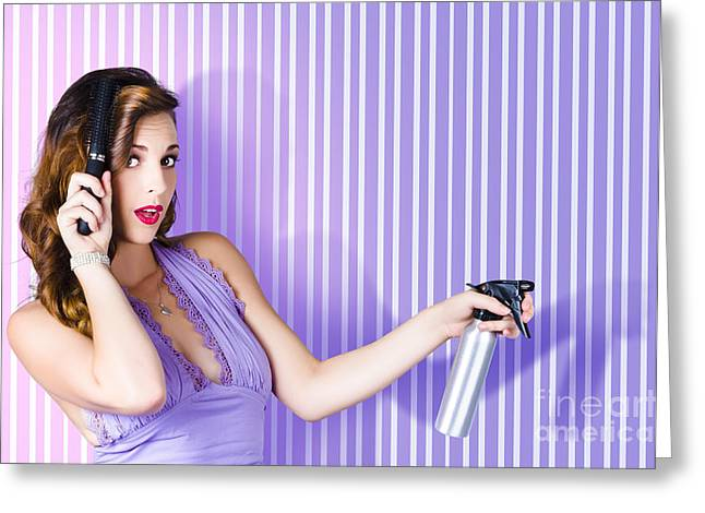 Hairstylists Greeting Cards - Surprised Pinup Woman With Beauty Salon Hair Style Greeting Card by Ryan Jorgensen