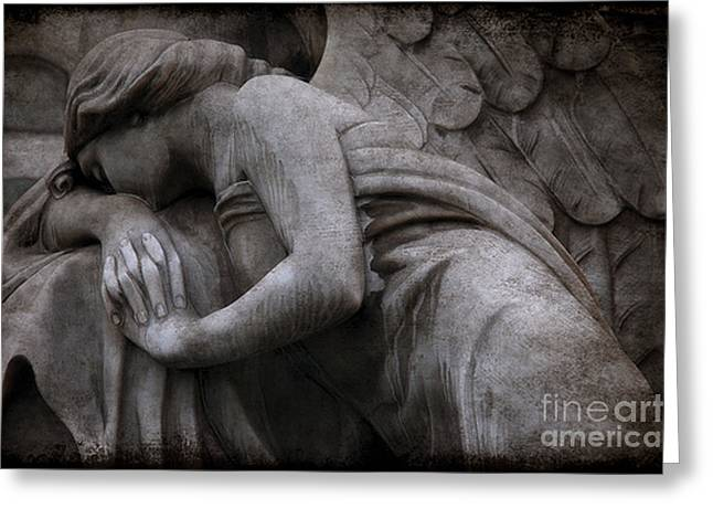 Ethereal Angel Art Greeting Cards - Surreal Beautiful Angel Weeping At Grave  Greeting Card by Kathy Fornal