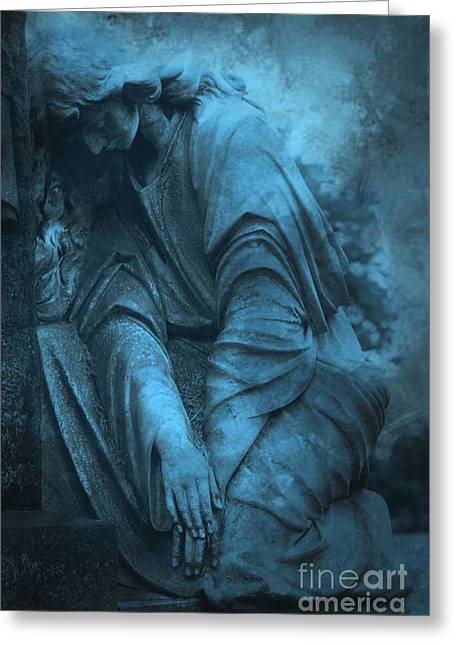 Angel Blues Greeting Cards - Surreal Cemetery Grave Mourner In Blue Sorrow  Greeting Card by Kathy Fornal