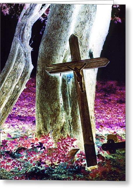 The Wooden Cross Greeting Cards - Surreal Crucifixion Greeting Card by Karin Kohlmeier