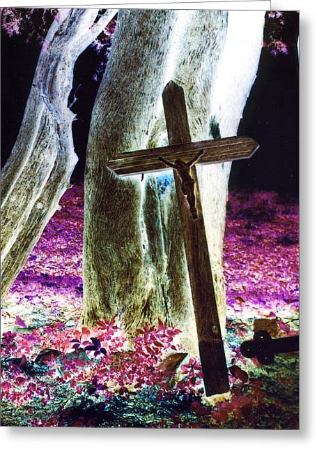 Cross On The Grave Greeting Cards - Surreal Crucifixion Greeting Card by Karin Kohlmeier