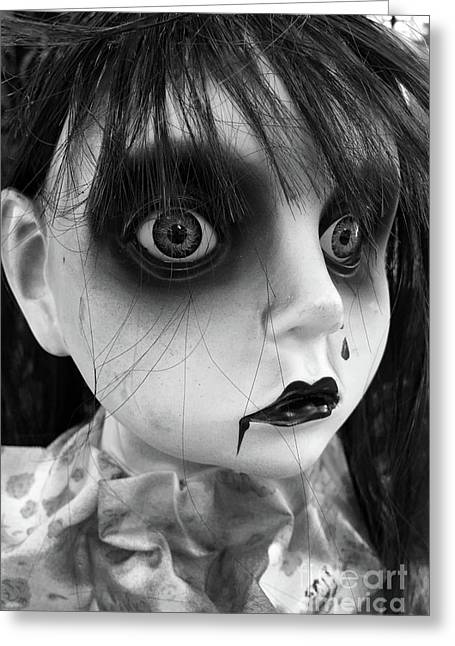 Surreal Dark Haunting Female Ghost Face - Halloween Portraits Spooky Gothic Art Decor Greeting Card by Kathy Fornal