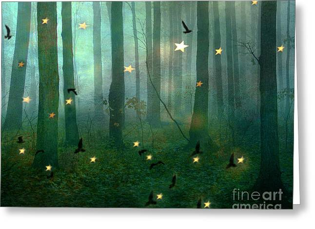 Surreal Dreamy Fantasy Nature Fairy Lights Woodlands Nature - Fairytale Fantasy Forest Woodlands  Greeting Card by Kathy Fornal