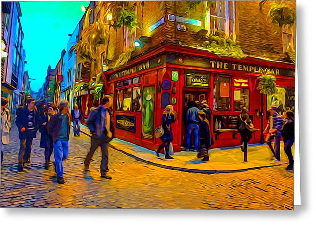 Gathering Greeting Cards - Surreal Dublin Greeting Card by Ron Fleishman