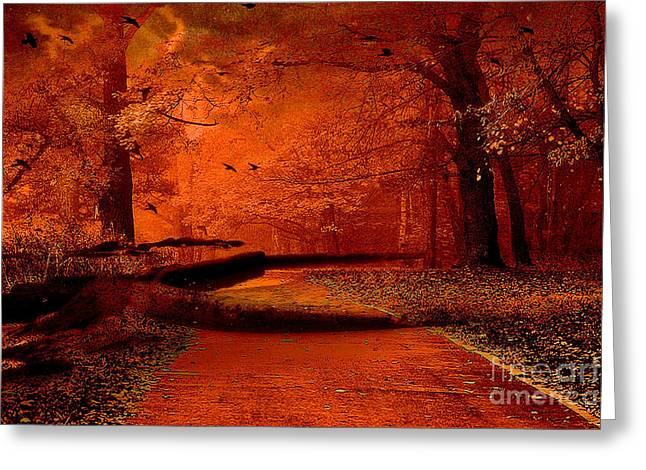 Dark Green Greeting Cards - Surreal Fantasy Autumn Fall Orange Woods Nature Forest  Greeting Card by Kathy Fornal