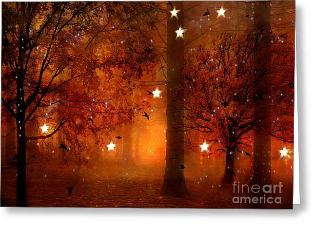 Surreal Dreamy Nature Photos Greeting Cards - Surreal Fantasy Autumn Woodlands Starry Night Greeting Card by Kathy Fornal