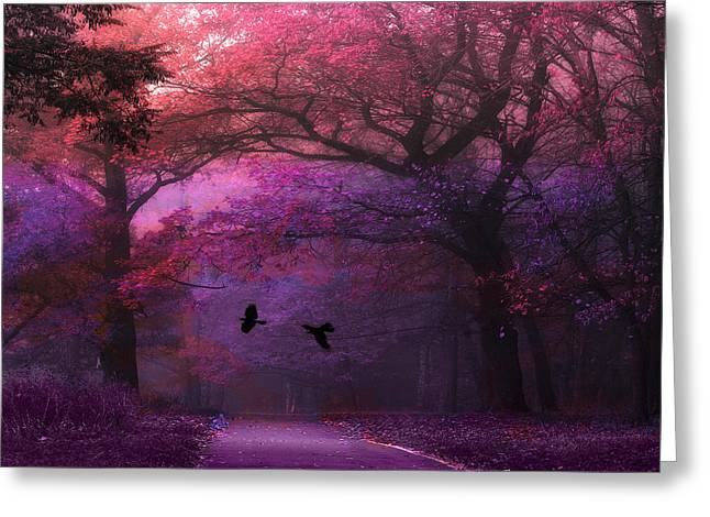 Dark Green Greeting Cards - Surreal Fantasy Dark Pink Purple Nature Woodlands Flying Ravens  Greeting Card by Kathy Fornal