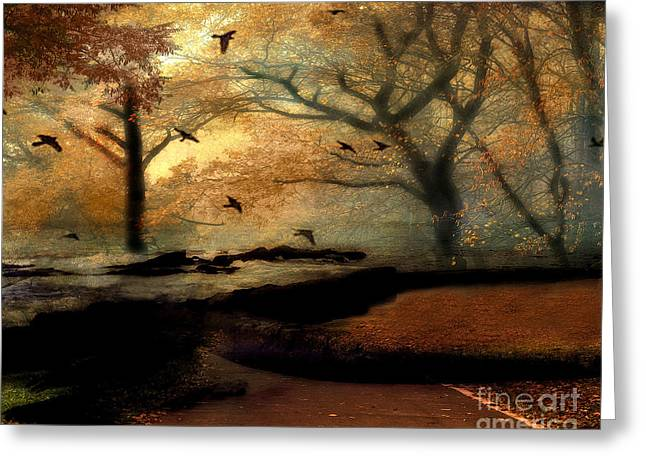 Surreal Dreamy Nature Photos Greeting Cards - Surreal Fantasy Haunting Autumn Trees Ravens Greeting Card by Kathy Fornal