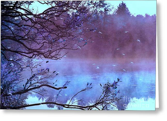 Fall Landscape Print Greeting Cards - Surreal Fantasy Purple Fall Autumn Nature Scene Greeting Card by Kathy Fornal