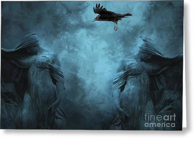 Gothic Crows Greeting Cards - Surreal Gothic Cemetery Mourners and Raven Greeting Card by Kathy Fornal