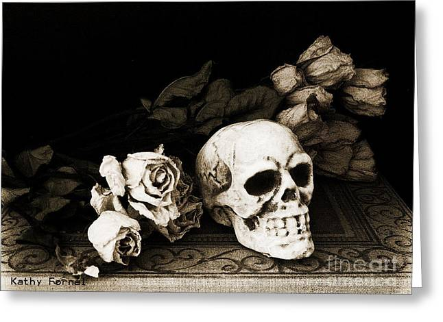 Surreal Gothic Dark Sepia Roses And Skull  Greeting Card by Kathy Fornal