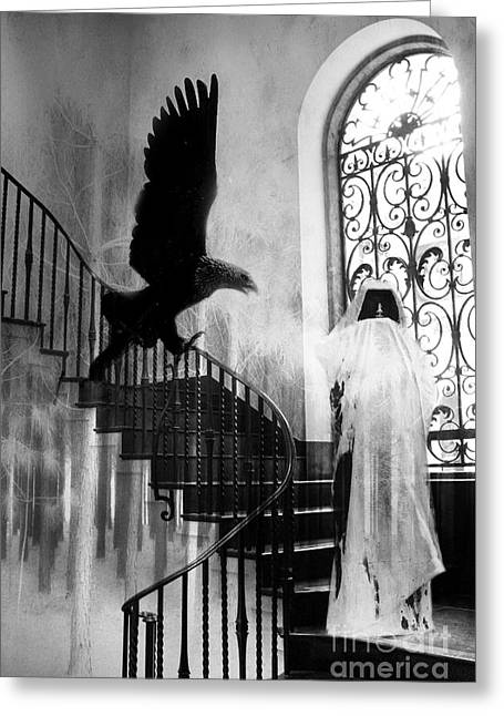 Ravens And Crows Photography Greeting Cards - Surreal Gothic Grim Reaper With Eagle Black and White - Halloween Spooky Haunting  Greeting Card by Kathy Fornal