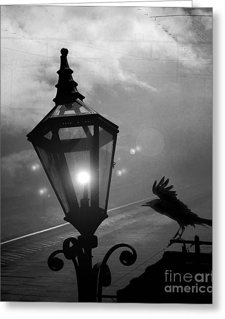Crow Art Greeting Cards - Surreal Gothic Raven With Night Stars Lantern - Haunting Raven Black and White Night Lights Greeting Card by Kathy Fornal