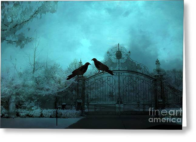 Surreal Gothic Ravens Fantasy Art Gate Scene Greeting Card by Kathy Fornal