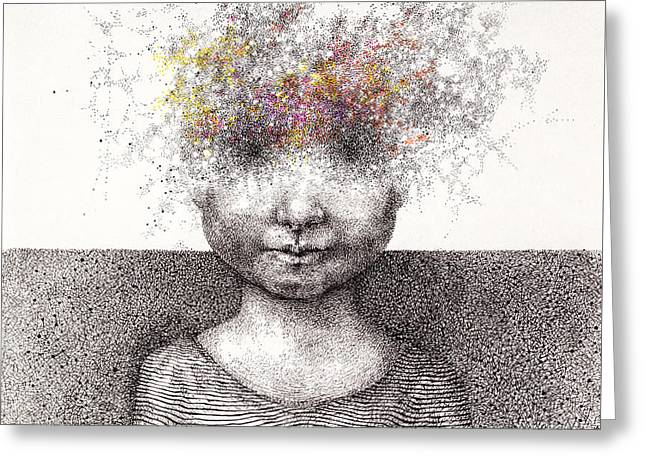 Surreal Hand Drawing Of A Boy From Stardust Decorative Artwork  - Cebanenco Stanislav Greeting Card by Matusciac Alexandru