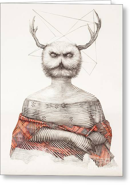 Owl On Head Greeting Cards - Surreal hand drawing of a lady owl, decorative artwork  - Cebanenco Stanislav Greeting Card by Cebanenco Stanislav