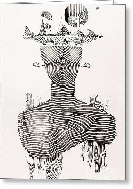 Surreal Hand Drawing, Portrait Decorative Artwork  - Cebanenco Stanislav Greeting Card by Cebanenco Stanislav