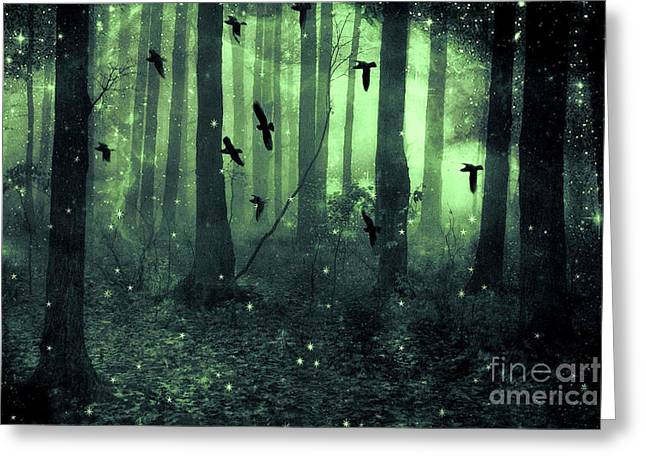 Surreal Haunting Fantasy Green Woodlands Trees Flying Ravens Stars Fairylights Sparkling Nature  Greeting Card by Kathy Fornal