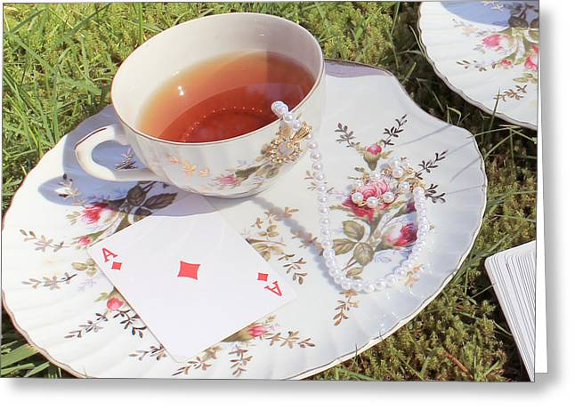 Mad Hatter Greeting Cards - Surreal Mad Tea Party Ace Greeting Card by Lara Whitmore