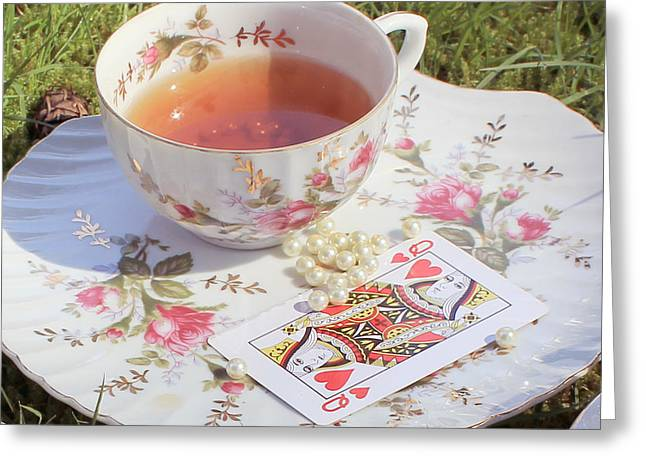 Mad Hatter Greeting Cards - Surreal Mad Tea Party Queen Greeting Card by Lara Whitmore