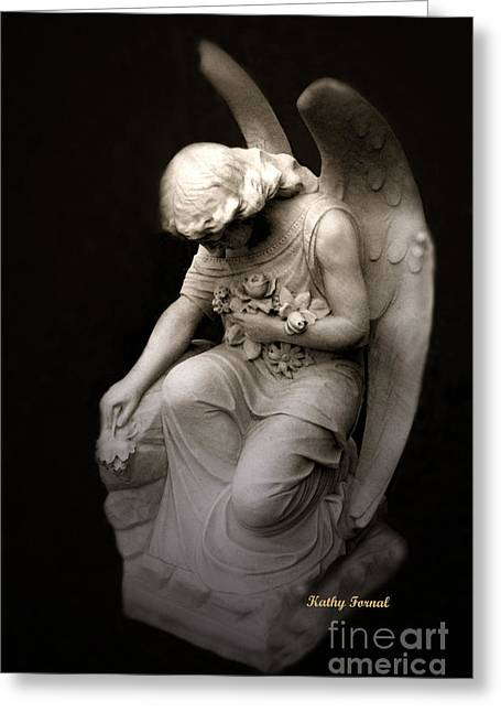 Coffin Greeting Cards - Surreal Sad Angel Kneeling In Prayer Greeting Card by Kathy Fornal