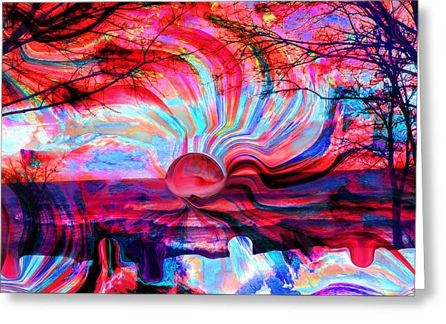 Sunset Prints Greeting Cards - Surreal Sunset in candy colors Greeting Card by Stephen  Killeen